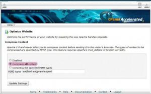 Optimize Website در سی پنل